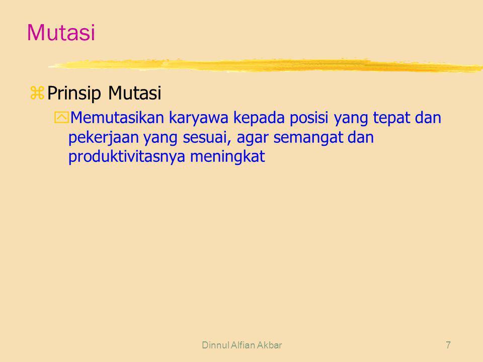 Dinnul Alfian Akbar7 Mutasi zPrinsip Mutasi yMemutasikan karyawa kepada posisi yang tepat dan pekerjaan yang sesuai, agar semangat dan produktivitasny