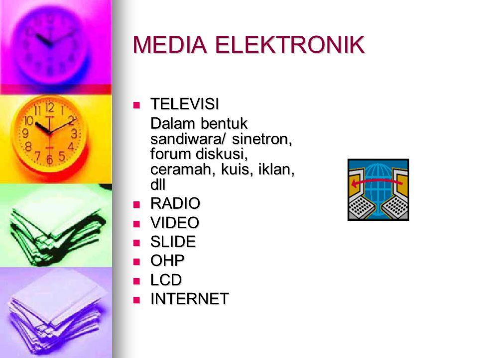 MEDIA ELEKTRONIK  TELEVISI Dalam bentuk sandiwara/ sinetron, forum diskusi, ceramah, kuis, iklan, dll  RADIO  VIDEO  SLIDE  OHP  LCD  INTERNET
