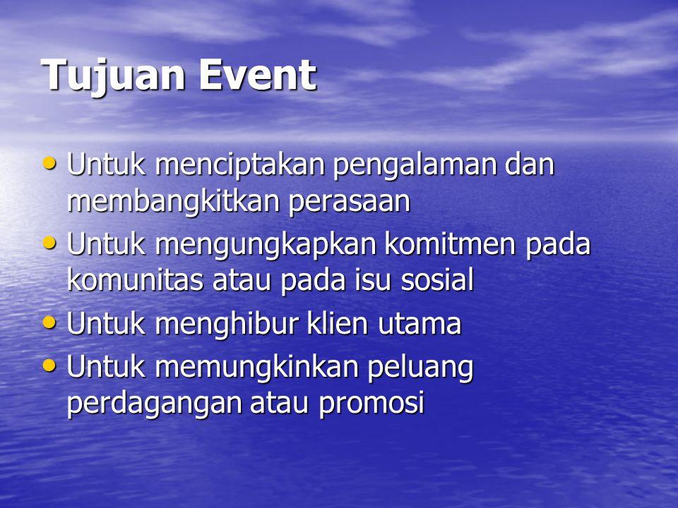 Tujuan Event • Untuk menciptakan pengalaman dan membangkitkan perasaan • Untuk mengungkapkan komitmen pada komunitas atau pada isu sosial • Untuk menghibur klien utama • Untuk memungkinkan peluang perdagangan atau promosi