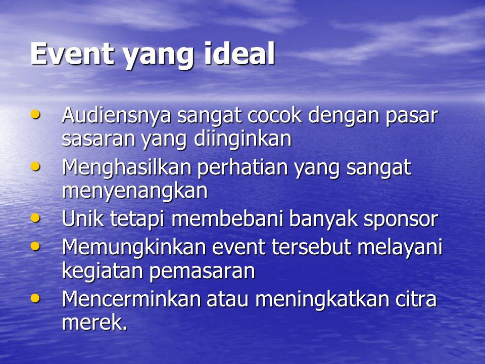 Event yang ideal • Audiensnya sangat cocok dengan pasar sasaran yang diinginkan • Menghasilkan perhatian yang sangat menyenangkan • Unik tetapi membebani banyak sponsor • Memungkinkan event tersebut melayani kegiatan pemasaran • Mencerminkan atau meningkatkan citra merek.