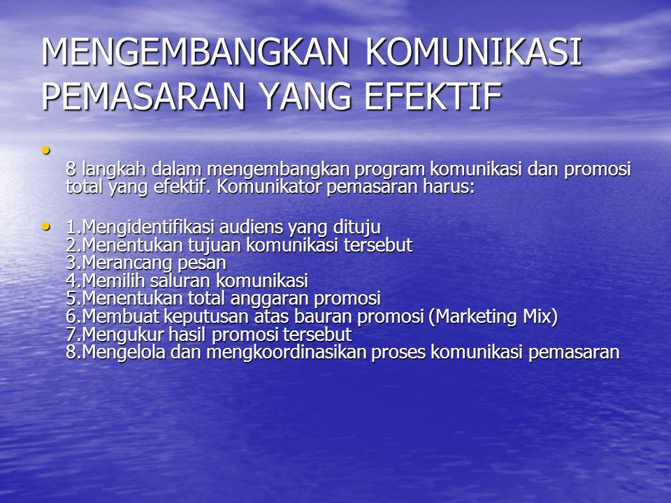 MENGEMBANGKAN KOMUNIKASI PEMASARAN YANG EFEKTIF • 8 langkah dalam mengembangkan program komunikasi dan promosi total yang efektif. Komunikator pemasar
