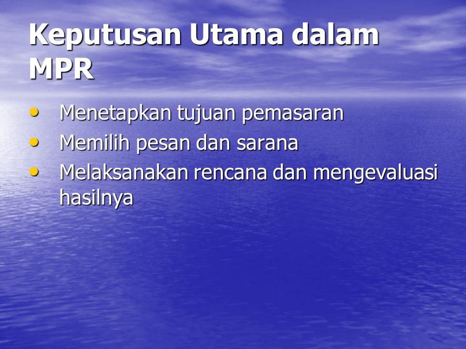 Keputusan Utama dalam MPR • Menetapkan tujuan pemasaran • Memilih pesan dan sarana • Melaksanakan rencana dan mengevaluasi hasilnya