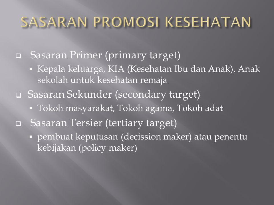  Sasaran Primer (primary target)  Kepala keluarga, KIA (Kesehatan Ibu dan Anak), Anak sekolah untuk kesehatan remaja  Sasaran Sekunder (secondary t