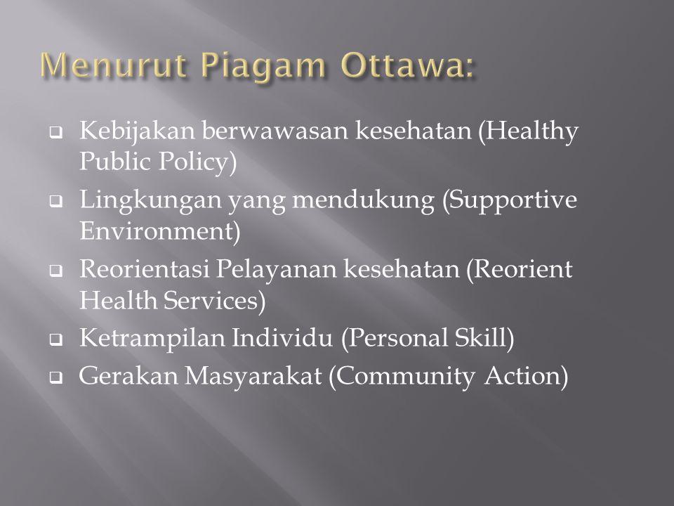  Kebijakan berwawasan kesehatan (Healthy Public Policy)  Lingkungan yang mendukung (Supportive Environment)  Reorientasi Pelayanan kesehatan (Reori