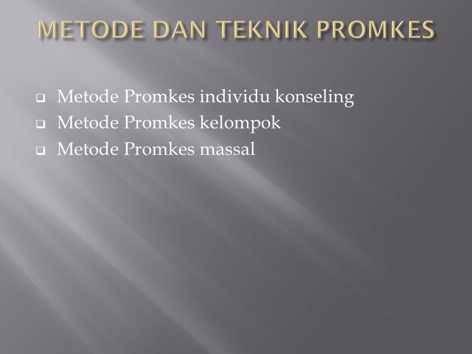  Metode Promkes individu konseling  Metode Promkes kelompok  Metode Promkes massal