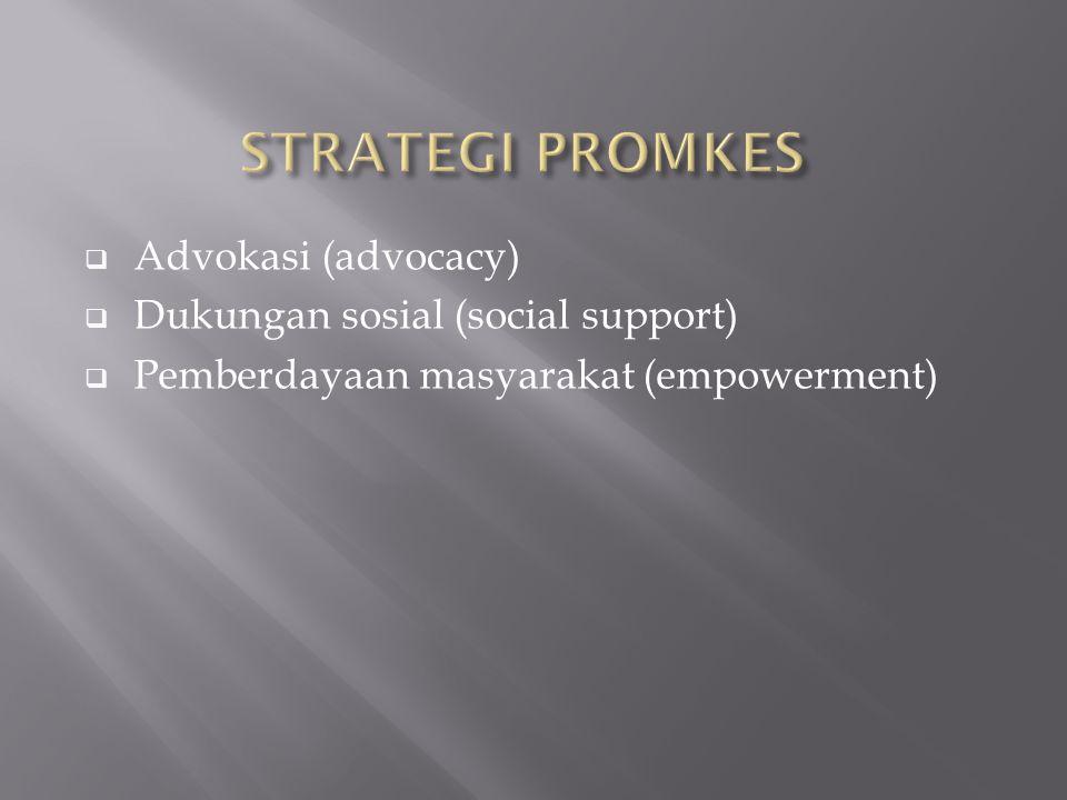  Advokasi (advocacy)  Dukungan sosial (social support)  Pemberdayaan masyarakat (empowerment)