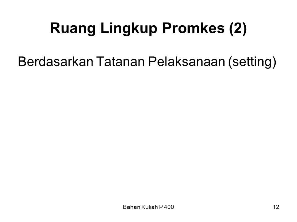 Bahan Kuliah P 40012 Ruang Lingkup Promkes (2) Berdasarkan Tatanan Pelaksanaan (setting)