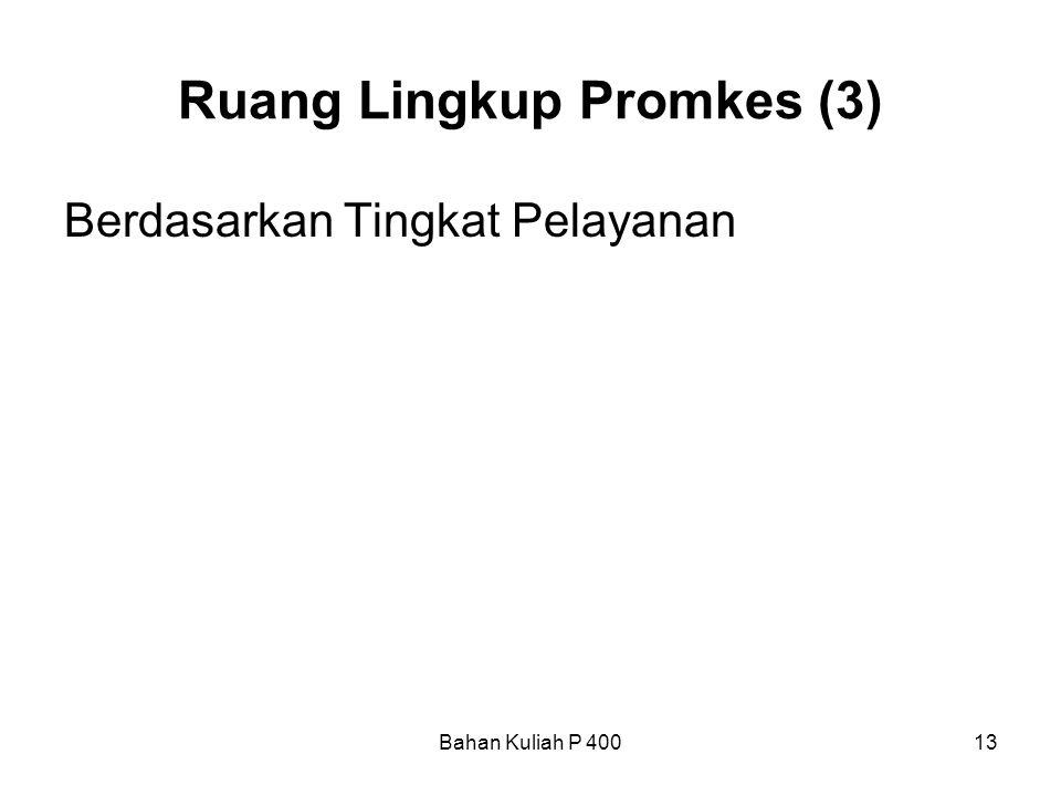 Bahan Kuliah P 40013 Ruang Lingkup Promkes (3) Berdasarkan Tingkat Pelayanan