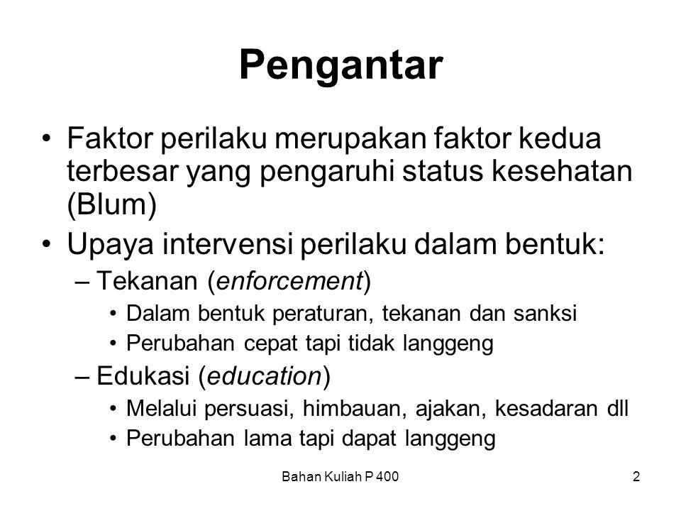 Bahan Kuliah P 4002 Pengantar •Faktor perilaku merupakan faktor kedua terbesar yang pengaruhi status kesehatan (Blum) •Upaya intervensi perilaku dalam