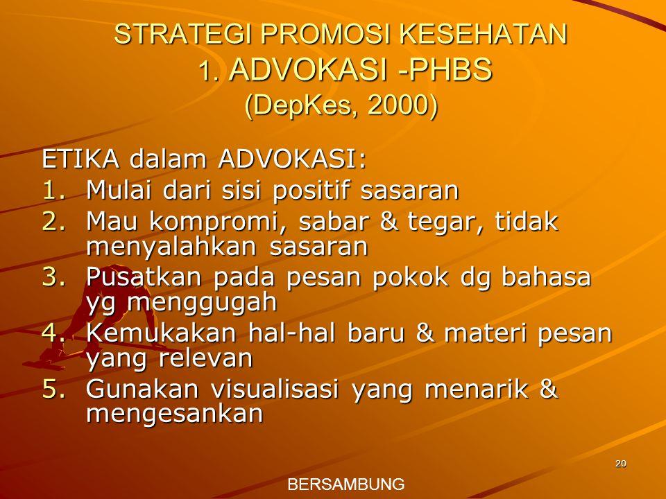 20 STRATEGI PROMOSI KESEHATAN 1. ADVOKASI -PHBS (DepKes, 2000) ETIKA dalam ADVOKASI: 1.Mulai dari sisi positif sasaran 2.Mau kompromi, sabar & tegar,