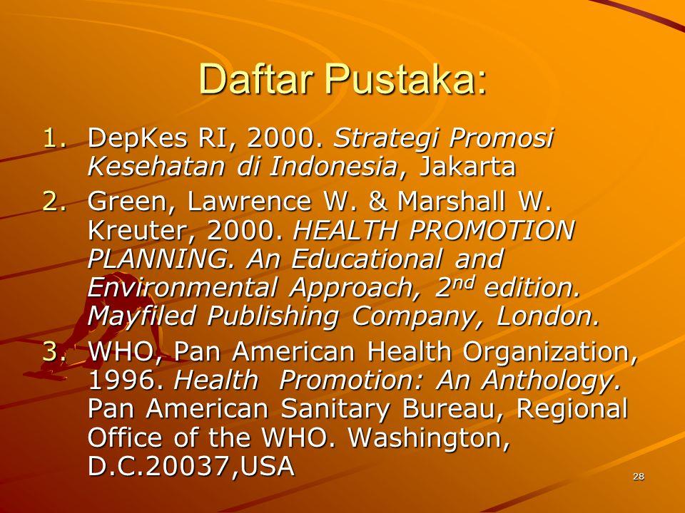28 Daftar Pustaka: 1.DepKes RI, 2000. Strategi Promosi Kesehatan di Indonesia, Jakarta 2.Green, Lawrence W. & Marshall W. Kreuter, 2000. HEALTH PROMOT