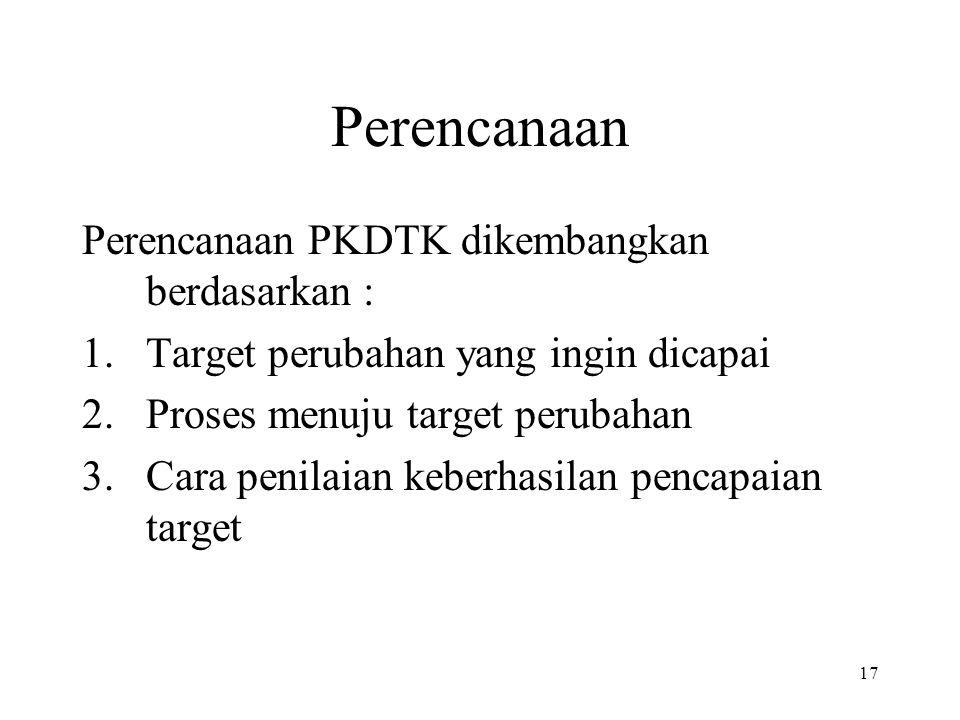 17 Perencanaan Perencanaan PKDTK dikembangkan berdasarkan : 1.Target perubahan yang ingin dicapai 2.Proses menuju target perubahan 3.Cara penilaian ke