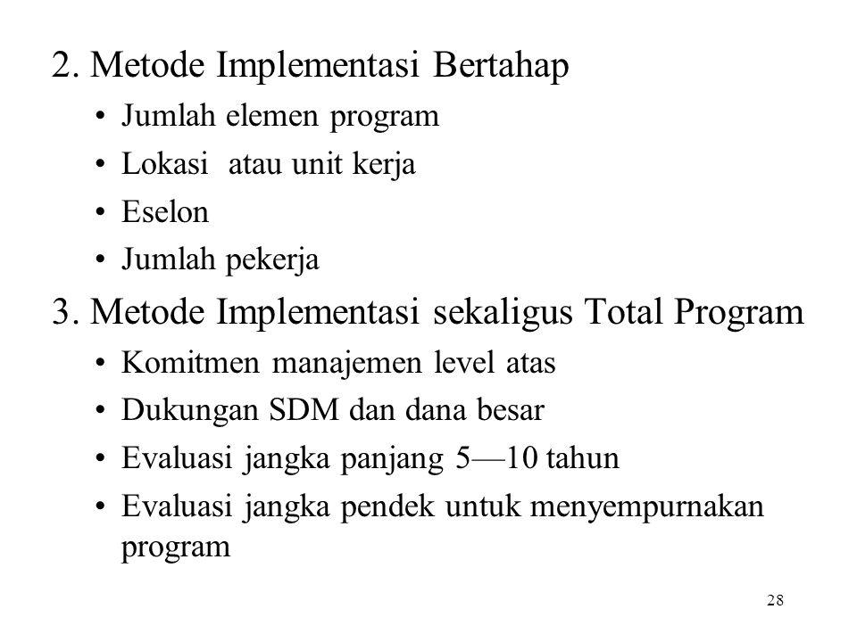 28 2. Metode Implementasi Bertahap •Jumlah elemen program •Lokasi atau unit kerja •Eselon •Jumlah pekerja 3. Metode Implementasi sekaligus Total Progr