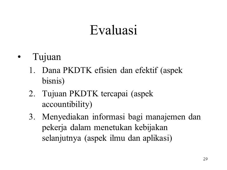 29 Evaluasi •Tujuan 1.Dana PKDTK efisien dan efektif (aspek bisnis) 2.Tujuan PKDTK tercapai (aspek accountibility) 3.Menyediakan informasi bagi manaje