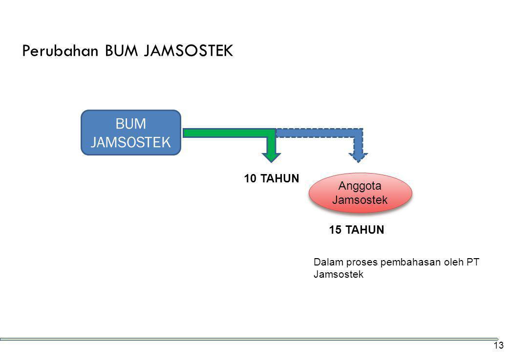 Perubahan BUM JAMSOSTEK 10 TAHUN 15 TAHUN BUM JAMSOSTEK Anggota Jamsostek Dalam proses pembahasan oleh PT Jamsostek 13