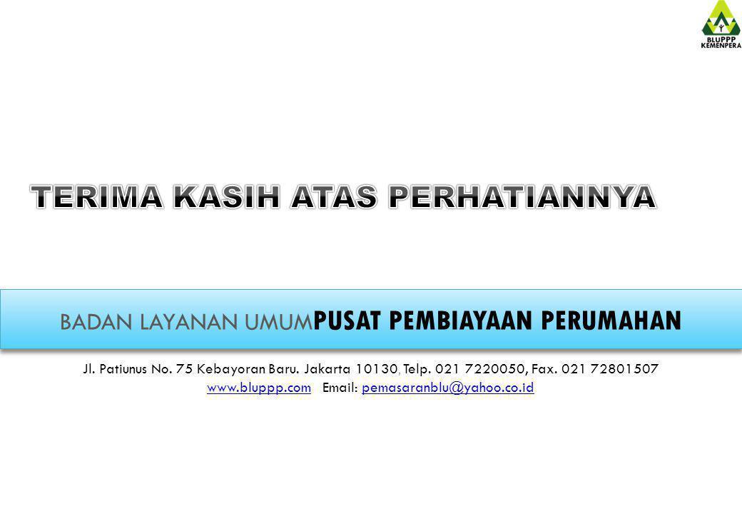 BADAN LAYANAN UMUM PUSAT PEMBIAYAAN PERUMAHAN Jl. Patiunus No. 75 Kebayoran Baru. Jakarta 10130, Telp. 021 7220050, Fax. 021 72801507 www.bluppp.comww