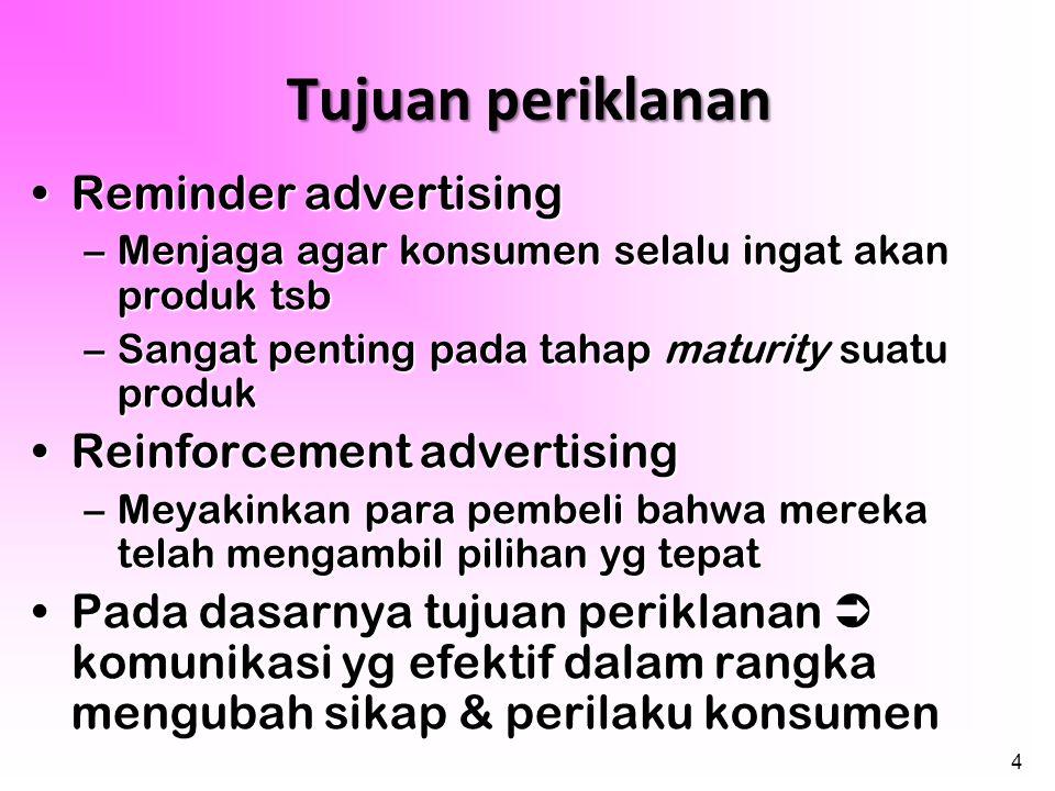 4 •Reminder advertising –Menjaga agar konsumen selalu ingat akan produk tsb –Sangat penting pada tahap maturity suatu produk •Reinforcement advertisin