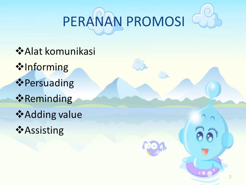 PERANAN PROMOSI  Alat komunikasi  Informing  Persuading  Reminding  Adding value  Assisting 3