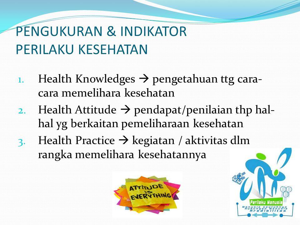 PENGUKURAN & INDIKATOR PERILAKU KESEHATAN 1. Health Knowledges  pengetahuan ttg cara- cara memelihara kesehatan 2. Health Attitude  pendapat/penilai