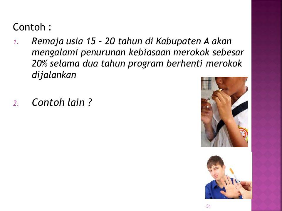 31 Contoh : 1. Remaja usia 15 – 20 tahun di Kabupaten A akan mengalami penurunan kebiasaan merokok sebesar 20% selama dua tahun program berhenti merok