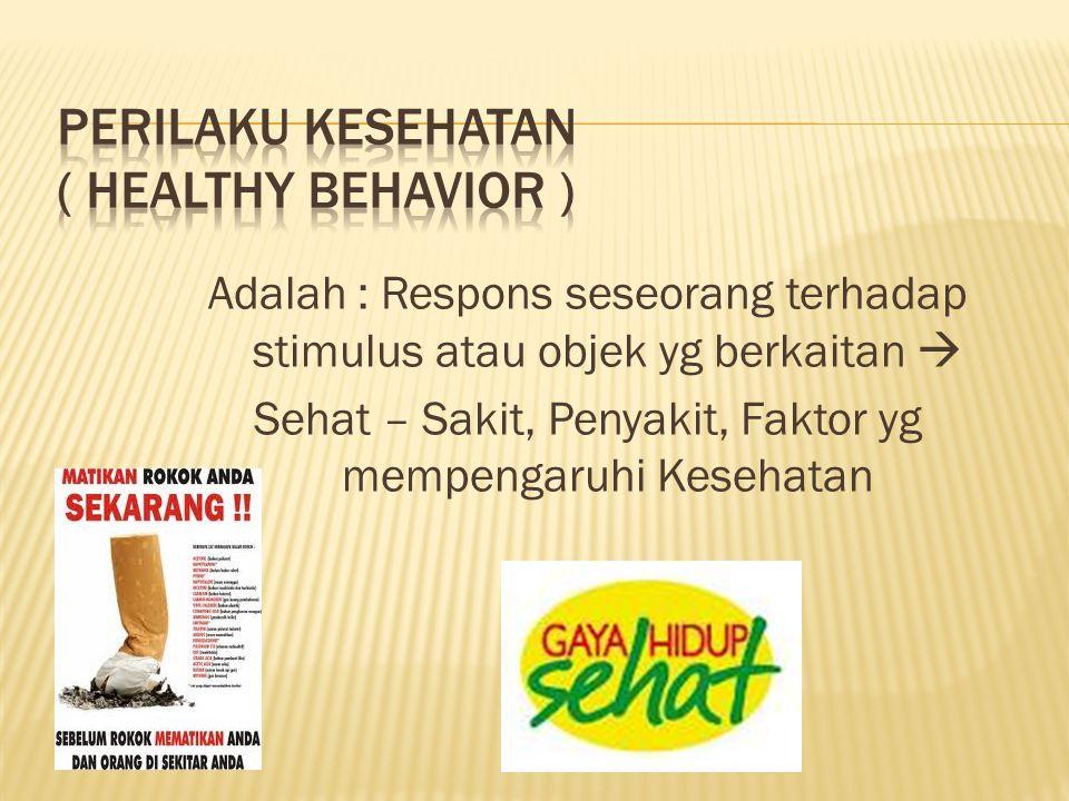 Adalah : Respons seseorang terhadap stimulus atau objek yg berkaitan  Sehat – Sakit, Penyakit, Faktor yg mempengaruhi Kesehatan