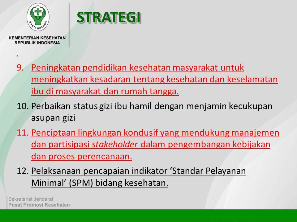 STRATEGISTRATEGI. 9.Peningkatan pendidikan kesehatan masyarakat untuk meningkatkan kesadaran tentang kesehatan dan keselamatan ibu di masyarakat dan r