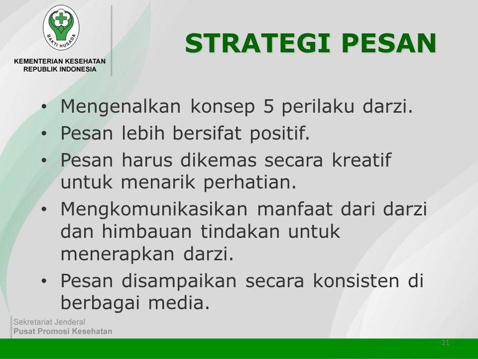 21 STRATEGI PESAN • Mengenalkan konsep 5 perilaku darzi. • Pesan lebih bersifat positif. • Pesan harus dikemas secara kreatif untuk menarik perhatian.