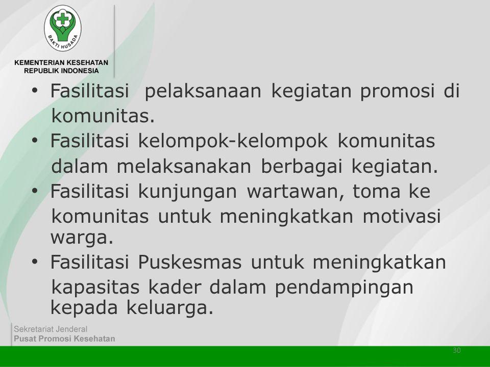 30 • Fasilitasi pelaksanaan kegiatan promosi di komunitas. • Fasilitasi kelompok-kelompok komunitas dalam melaksanakan berbagai kegiatan. • Fasilitasi