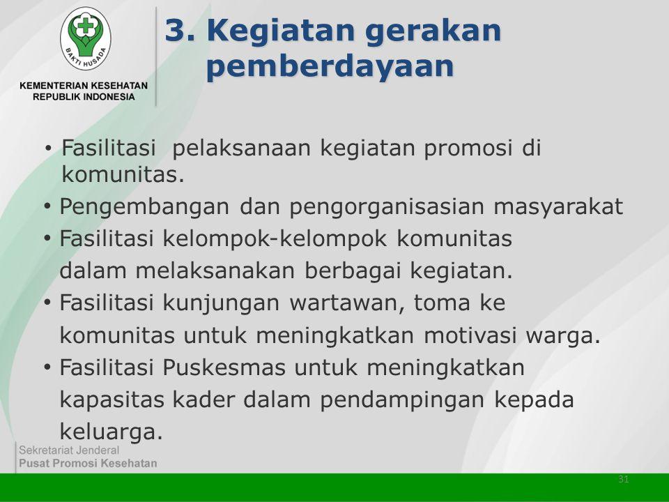 31 3. Kegiatan gerakan pemberdayaan • Fasilitasi pelaksanaan kegiatan promosi di komunitas. • Pengembangan dan pengorganisasian masyarakat • Fasilitas