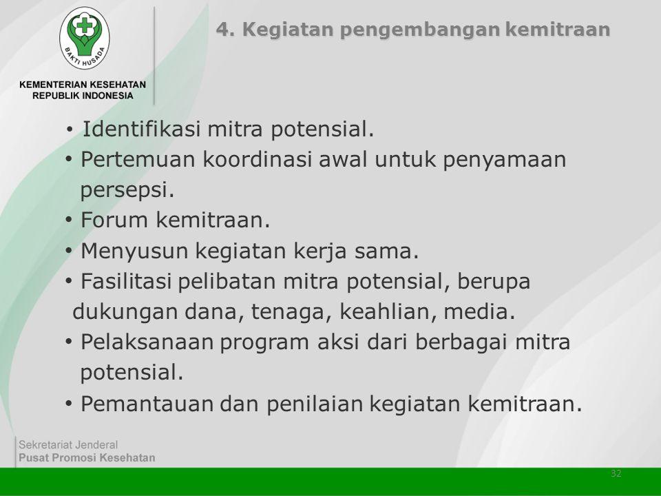 32 4. Kegiatan pengembangan kemitraan • Identifikasi mitra potensial. • Pertemuan koordinasi awal untuk penyamaan persepsi. • Forum kemitraan. • Menyu
