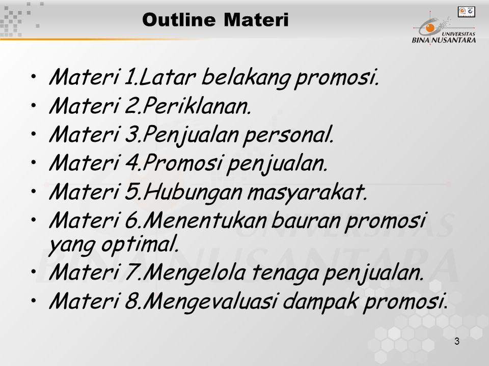 3 Outline Materi •Materi 1.Latar belakang promosi. •Materi 2.Periklanan. •Materi 3.Penjualan personal. •Materi 4.Promosi penjualan. •Materi 5.Hubungan