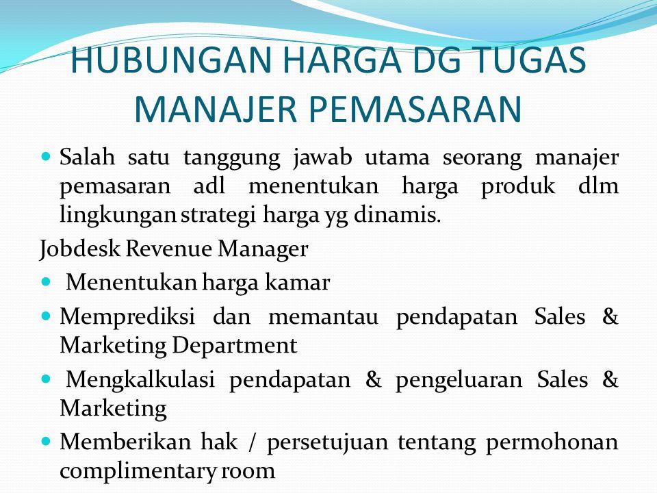 HUBUNGAN HARGA DG TUGAS MANAJER PEMASARAN  Salah satu tanggung jawab utama seorang manajer pemasaran adl menentukan harga produk dlm lingkungan strat