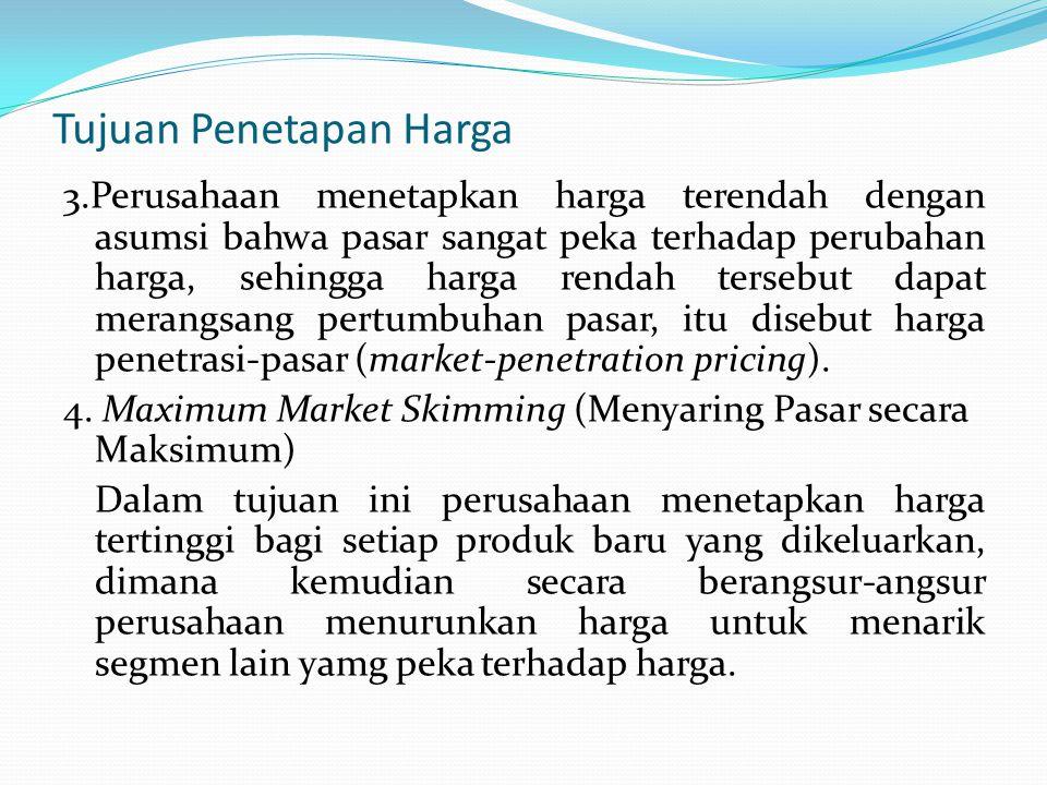 Tujuan Penetapan Harga 3.Perusahaan menetapkan harga terendah dengan asumsi bahwa pasar sangat peka terhadap perubahan harga, sehingga harga rendah te