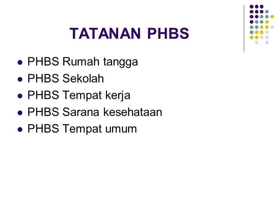 TATANAN PHBS  PHBS Rumah tangga  PHBS Sekolah  PHBS Tempat kerja  PHBS Sarana kesehataan  PHBS Tempat umum