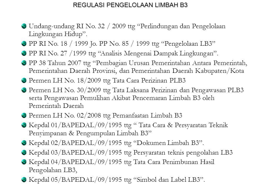 """REGULASI PENGELOLAAN LIMBAH B3 Undang-undang RI No. 32 / 2009 ttg """"Perlindungan dan Pengelolaan Lingkungan Hidup"""". PP RI No. 18 / 1999 Jo. PP No. 85 /"""