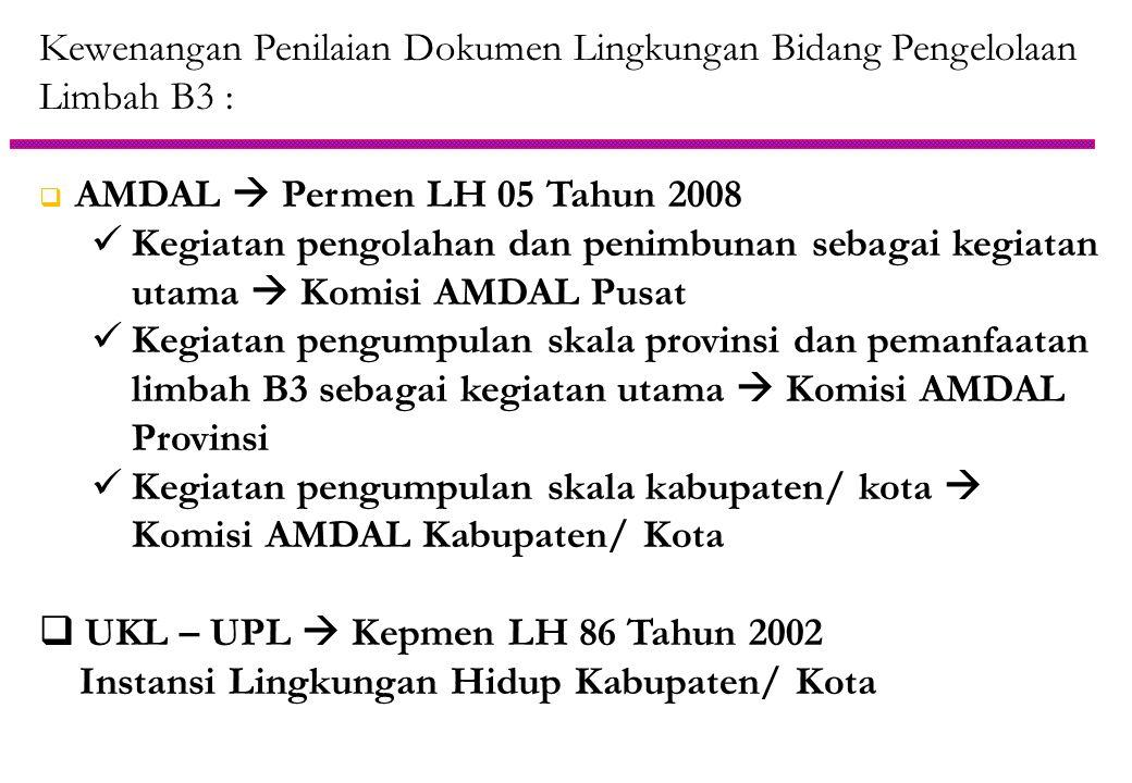 Kewenangan Penilaian Dokumen Lingkungan Bidang Pengelolaan Limbah B3 :  AMDAL  Permen LH 05 Tahun 2008  Kegiatan pengolahan dan penimbunan sebagai