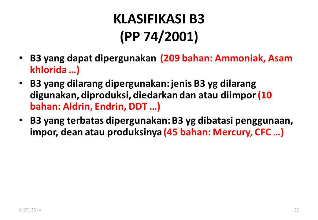 6/29/201422 KLASIFIKASI B3 (PP 74/2001) • B3 yang dapat dipergunakan (209 bahan: Ammoniak, Asam khlorida …) • B3 yang dilarang dipergunakan: jenis B3