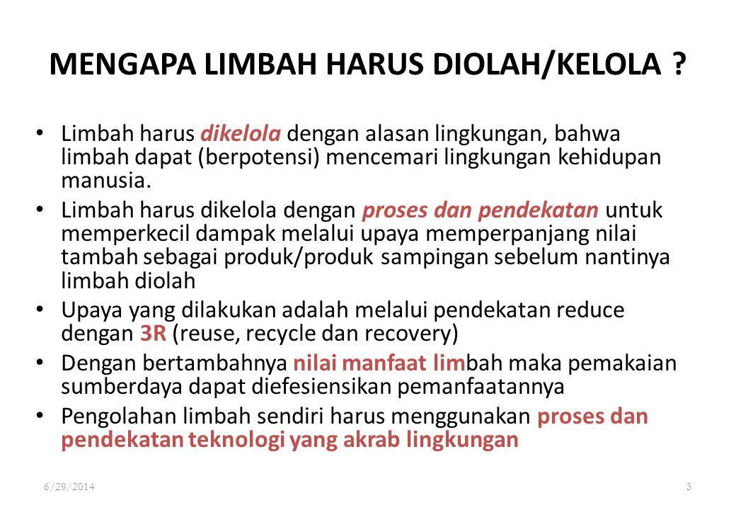 6/29/20143 MENGAPA LIMBAH HARUS DIOLAH/KELOLA ? • Limbah harus dikelola dengan alasan lingkungan, bahwa limbah dapat (berpotensi) mencemari lingkungan