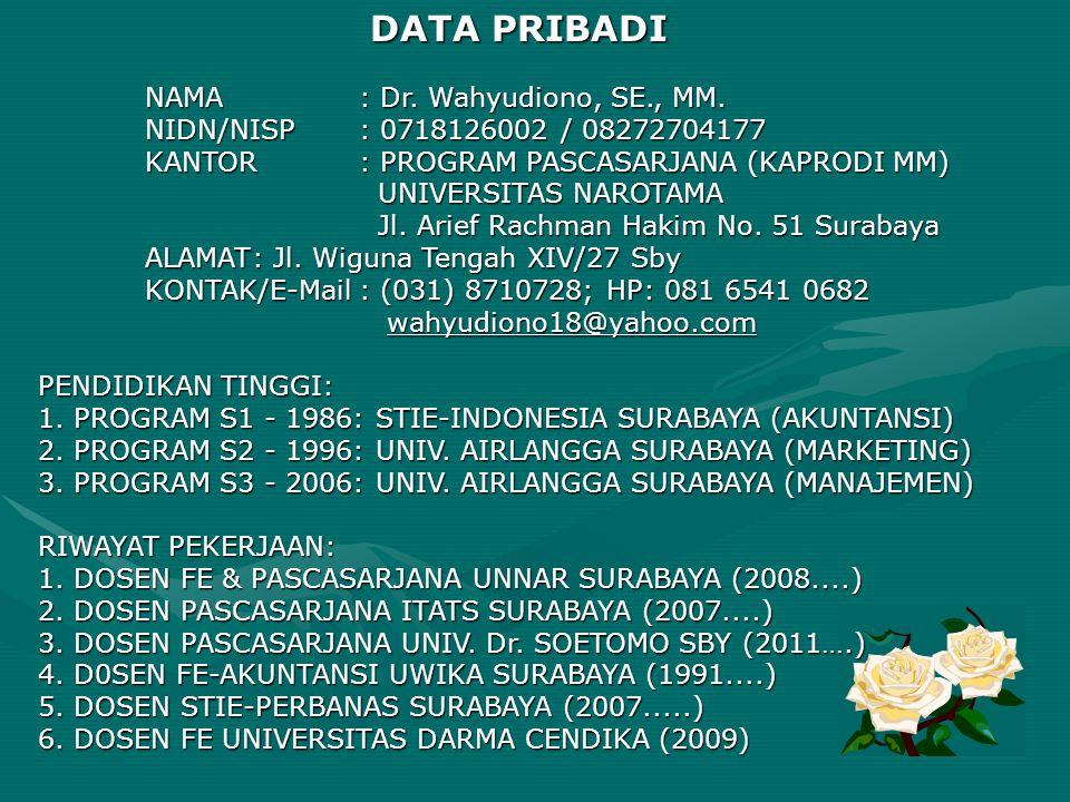 DATA PRIBADI NAMA: Dr. Wahyudiono, SE., MM. NIDN/NISP: 0718126002 / 08272704177 KANTOR: PROGRAM PASCASARJANA (KAPRODI MM) UNIVERSITAS NAROTAMA UNIVERS