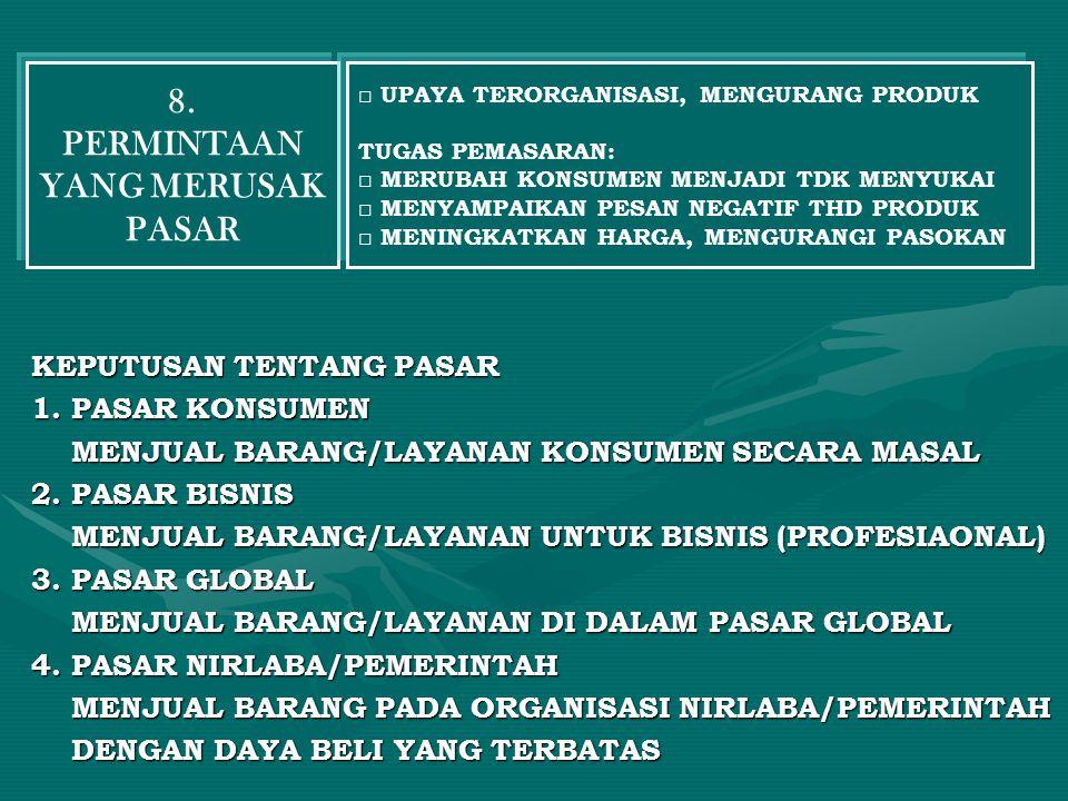 KEPUTUSAN TENTANG PASAR KEPUTUSAN TENTANG PASAR 1. PASAR KONSUMEN 1. PASAR KONSUMEN MENJUAL BARANG/LAYANAN KONSUMEN SECARA MASAL MENJUAL BARANG/LAYANA