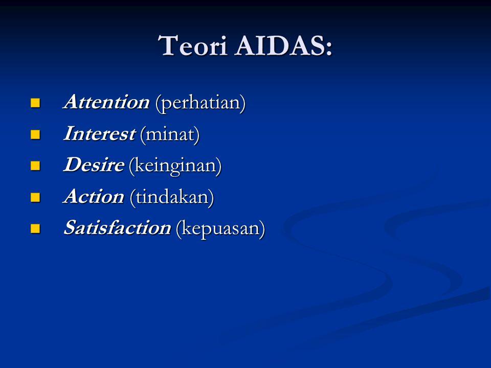 Teori AIDAS:  Attention (perhatian)  Interest (minat)  Desire (keinginan)  Action (tindakan)  Satisfaction (kepuasan)