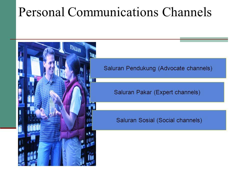 Saluran Pendukung (Advocate channels) Saluran Pakar (Expert channels) Saluran Sosial (Social channels) Personal Communications Channels
