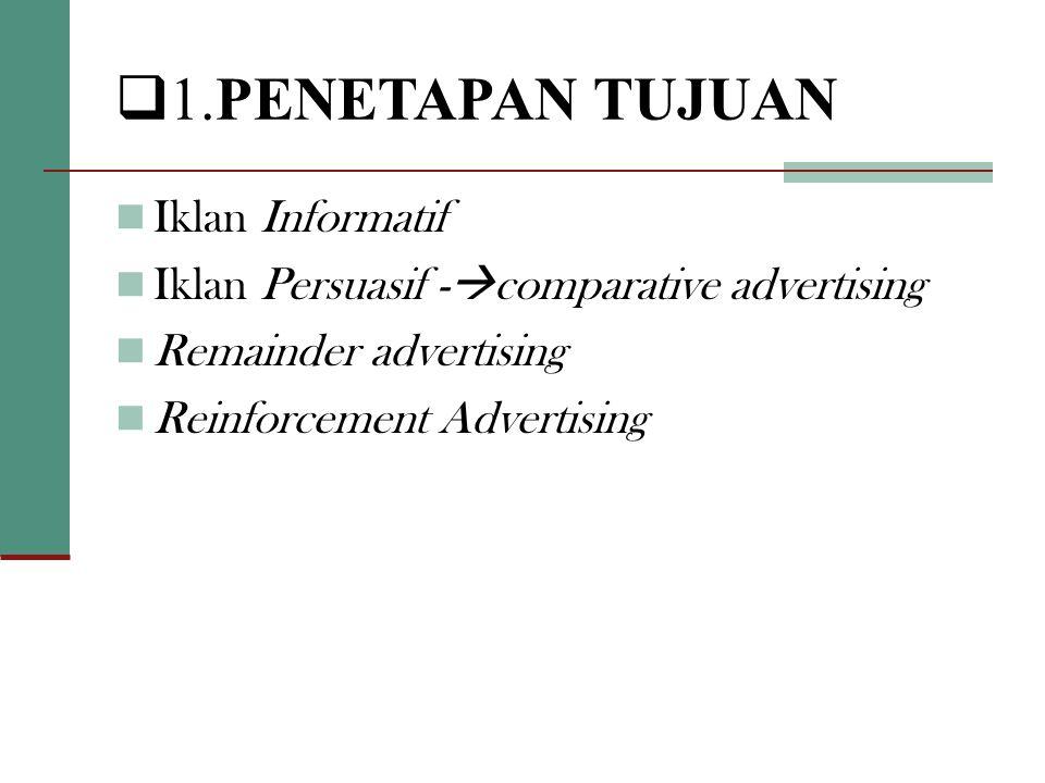  1.PENETAPAN TUJUAN  Iklan Informatif  Iklan Persuasif -  comparative advertising  Remainder advertising  Reinforcement Advertising