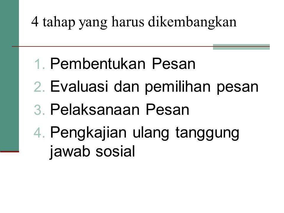 4 tahap yang harus dikembangkan 1. Pembentukan Pesan 2. Evaluasi dan pemilihan pesan 3. Pelaksanaan Pesan 4. Pengkajian ulang tanggung jawab sosial