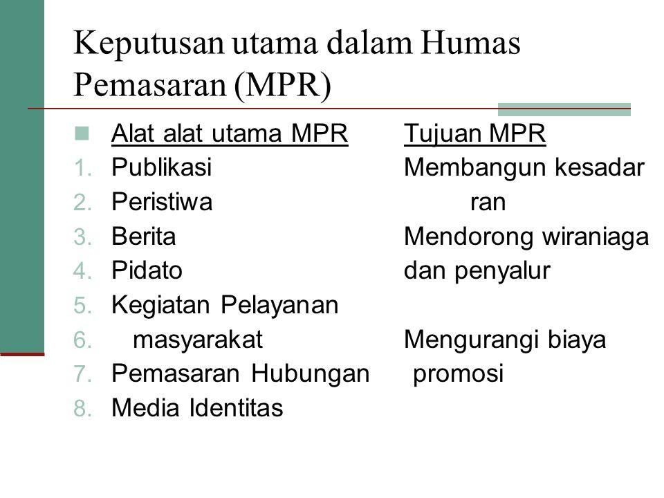 Keputusan utama dalam Humas Pemasaran (MPR)  Alat alat utama MPRTujuan MPR 1. PublikasiMembangun kesadar 2. Peristiwaran 3. BeritaMendorong wiraniaga