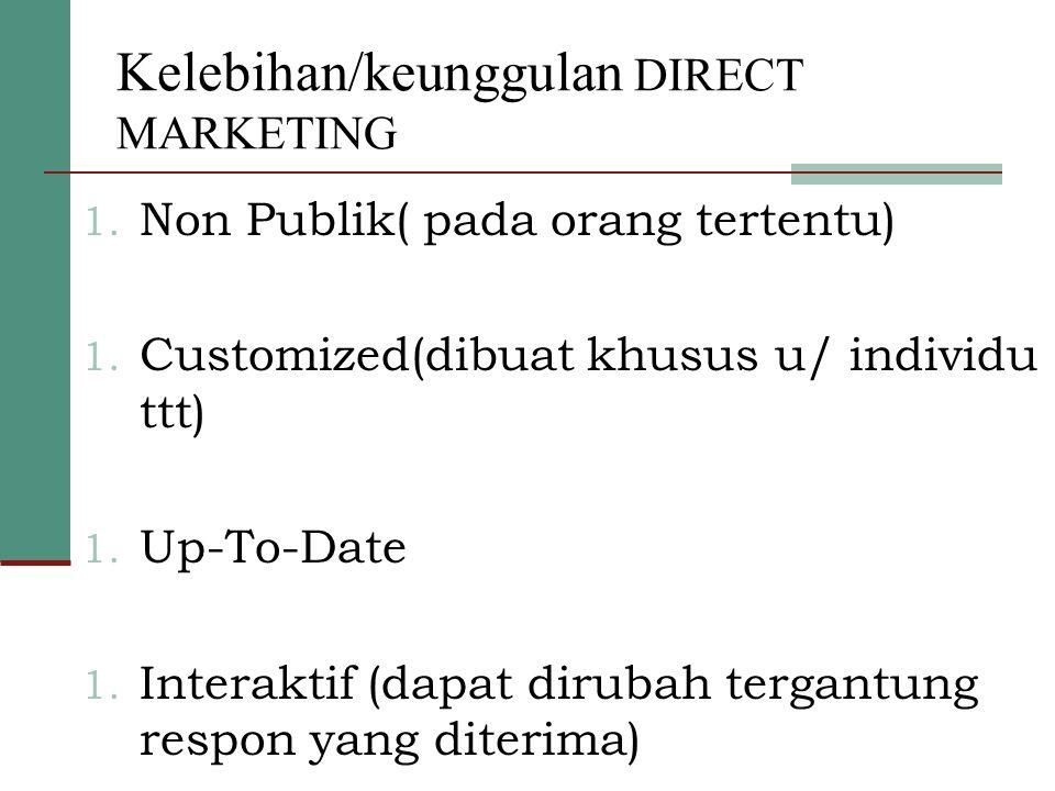 Kelebihan/keunggulan DIRECT MARKETING 1. Non Publik( pada orang tertentu) 1. Customized(dibuat khusus u/ individu ttt) 1. Up-To-Date 1. Interaktif (da