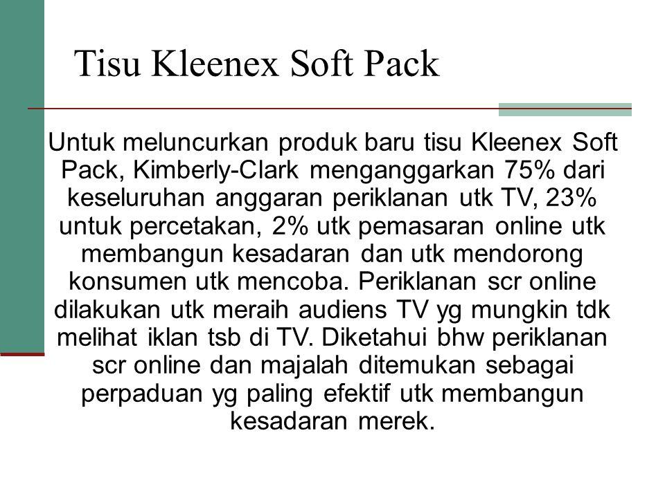 Tisu Kleenex Soft Pack Untuk meluncurkan produk baru tisu Kleenex Soft Pack, Kimberly-Clark menganggarkan 75% dari keseluruhan anggaran periklanan utk TV, 23% untuk percetakan, 2% utk pemasaran online utk membangun kesadaran dan utk mendorong konsumen utk mencoba.