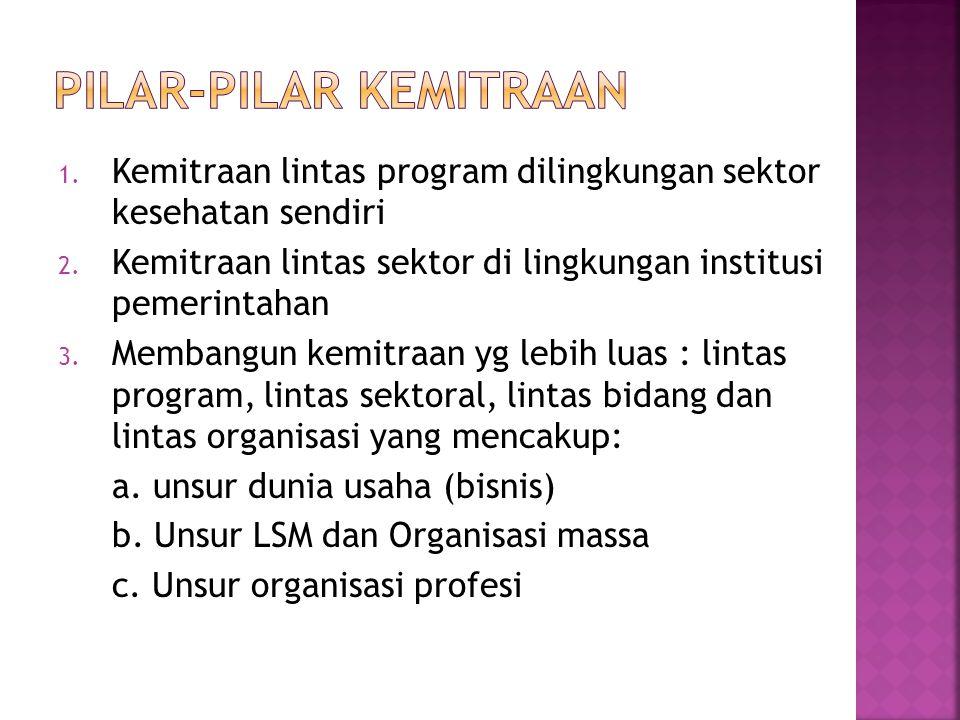 1. Kemitraan lintas program dilingkungan sektor kesehatan sendiri 2. Kemitraan lintas sektor di lingkungan institusi pemerintahan 3. Membangun kemitra