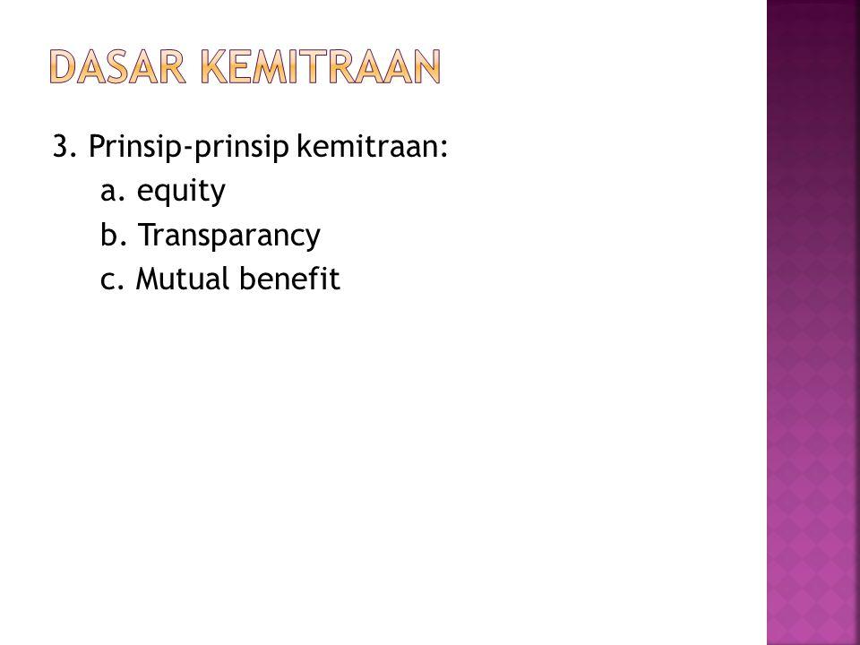 3. Prinsip-prinsip kemitraan: a. equity b. Transparancy c. Mutual benefit