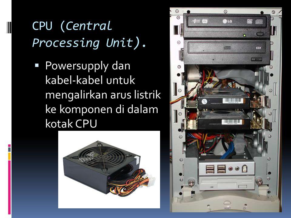 CPU (Central Processing Unit ).  Powersupply dan kabel-kabel untuk mengalirkan arus listrik ke komponen di dalam kotak CPU